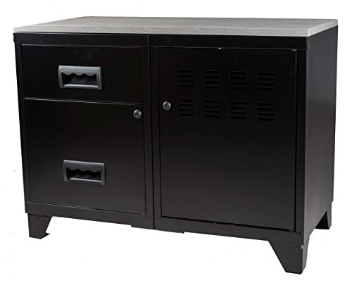 Opbergkast, 1 deur en 2 laden met plaat van MDF, zwart