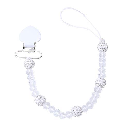 Toyvian Schnullerkette Baby Schnullerband mit Clip Perlen Schnullerkette Kunststoff für Kleinekinder Baby (Weiß)
