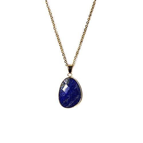 Top Natural facetado en forma de agua piedra collar platino cadena de acero Lapis colgante collar regalos para las mujeres accesorios de joyería
