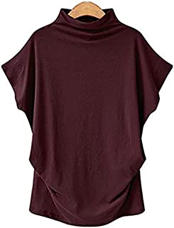 Women Casual Turtleneck Short Batwing Sleeve Blouse Female Cotton Solid Plus Size Tops Ladies Shirt Clothing (Color : Wine...