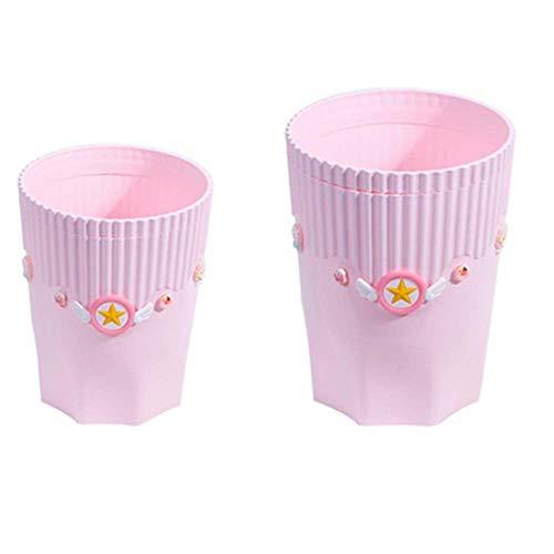 Mesa Bote de basura Organizador de escritorio Organizadores estacionarios Organizar organizadores de maquillaje Caja de almacenamiento pequeña Cajas de almacenamiento de baño Rosa, grande