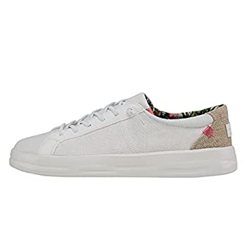Hey Dude Women s Karina Natural Coconut White Size 7 | Women s Slip-on Sneakers | Women s Casual Shoes | Comfortable & Light-Weight