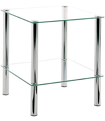 Haku Möbel Beistelltisch eckig - verchromtes Stahlrohr 2 Ablagen Sichterheitsglas H 47 cm