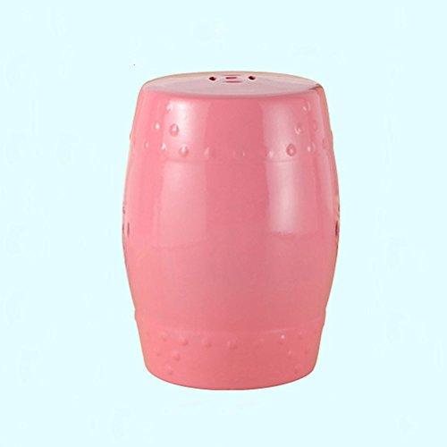 Creative Keramische Footstool Blue Drum-vormige kruk Decorative Make-up Bench for eetkamer, 30cm * 46cm 408 (Color : Pink)