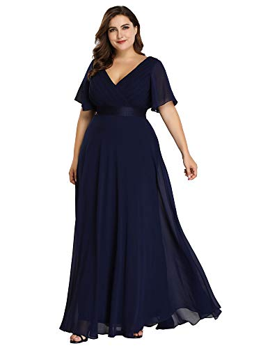 Ever-Pretty Womens Floor Length Long Chiffon Bridesmaids Dress 22 US Navy Blue