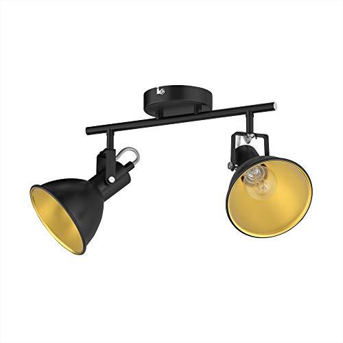 ledscom.de Luz de techo RISI, E14, dos llamas, negro-oro, metal, incl. lámparas LED Regulación en 3 niveles: cada uno de ellos con un máximo de 400 lm en blanco cálido