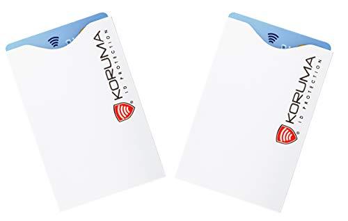 KORUMA TÜV geprüfte RFID Schutzhülle Kreditkarten reißfest 2 Stck RFID NFC Schutz für Kreditkarten, EC Karten Hülle | NFC Schutzhülle Kreditkarte | RFID Blocker | Kreditkartenhülle abgeschirmt