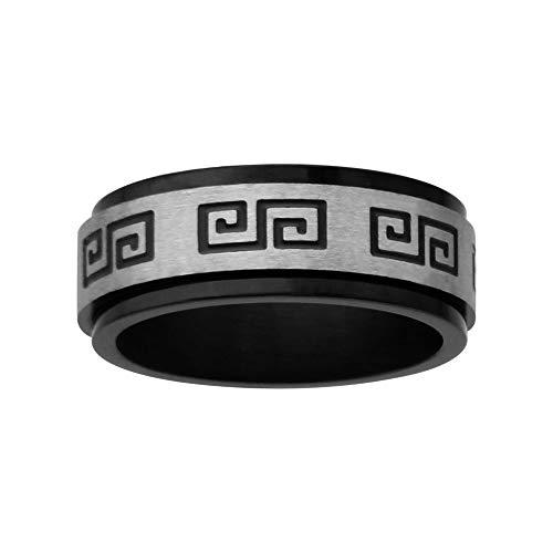 1001Bijoux–Alleanza Anti Stress acciaio Black ossido motivo greco, Acciaio inossidabile, 30, cod. 17633N_70