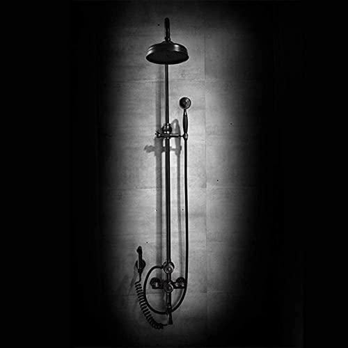 HTOUR Juego de Ducha Juego de Ducha de baño Tallado Negro Retro Europeo Sistema de Ducha de Mano sobrealimentado Antiguo de Cobre 4 Funciones Rociador Superior Redondo con Grifo Bidet Baño Delicado