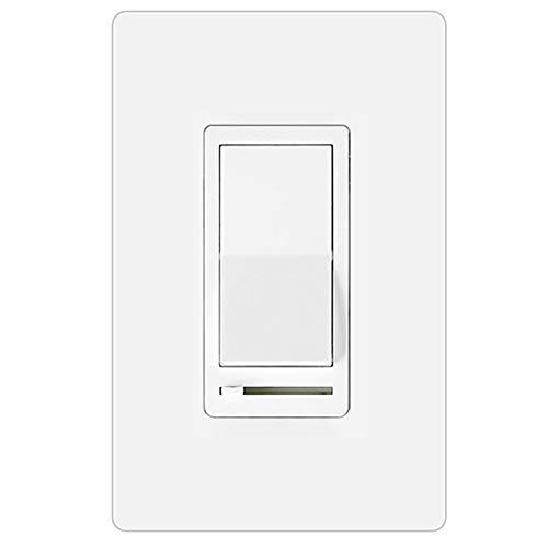 BESTTEN Dimmer Light Switch, 3 Way or Single Pole, for Dimmable LED Lamps, CFL, Incandescent or Halogen Bulbs, Screwless Wallplate Included, UL Listed