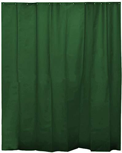 H HANSEL HOME Duschvorhang Dunkelgrün für Badezimmer mit 12 Ringen, 50prozent Eva-Gummi & 50prozent Polyethylen (180 x 200 cm)