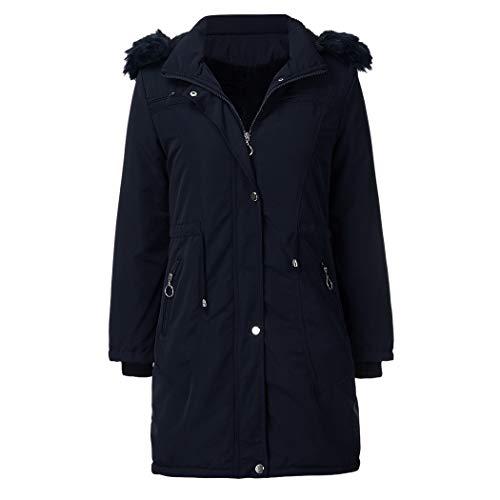 MALPYQ vrouwen mid-length jas, grote bontkraag capuchon afneembare winter warm plus fluwelen jas