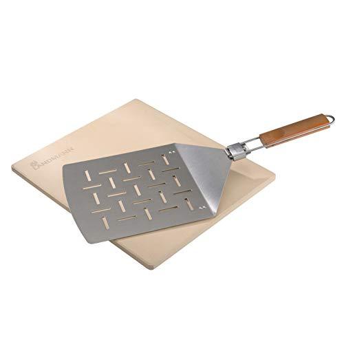 LANDMANN Selection Pizza-Set | Pizzastein ideal für Pizza & Brot backen | Klappbarer Pizzaheber aus Edelstahl mit Bambusgriff | Für Holzkohlegrill, Gasgrill und Backofen geeignet [Cordierit]