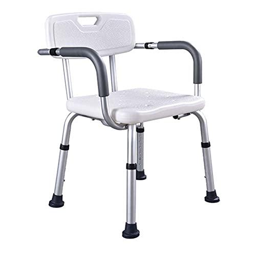 JHshop Gepolsterte Sitztransferbank, Duschhocker Aus Aluminiumlegierung Badewannensitz mit Abnehmbarem Rückenlehnenstuhl und 6-stufigem Höhenverstellbarem Badestuhl