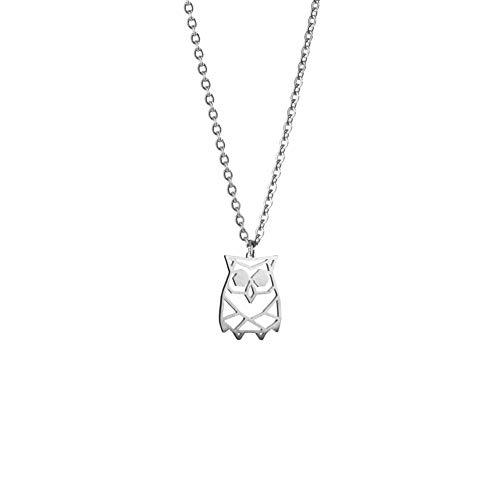 La Menagerie Búho Plata, Joya de Origami & Collar geométrico Plata Mujer - Collar bañado en Plata de Ley 925 con diseño Animal búho - Joyería para niñas y Mujeres