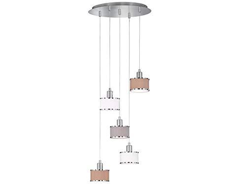 Zeitlose 5 flammige Pendelleuchte Ciara mit Stoffschirmen in Weiß, Grau & Braun Ø 40cm - Hängeleuchte für eine Moderne Deckenbeleuchtung