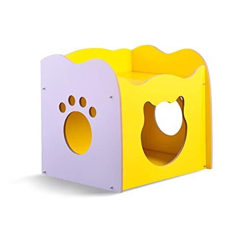 FECTY Plaza de la Perrera del Gato de Cama, Cubierta de Madera con ventilación Fácil de Limpiar la casa for Mascotas, artículos for Mascotas Entrada Exclusiva (Color : Yellow)