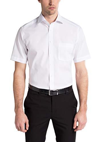 eterna Kurzarm Hemd Modern Fit Popeline Unifarben, Gr. 48, Weiß