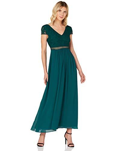 TRUTH & FABLE Damen Maxi Chiffon-Kleid mit A-Linie, Grün (Deep Petrol), 38, Label:M