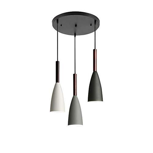 Lámpara colgante nórdica LED, techo colgante de metal Macaron con 3 luces, soporte para lámpara E27, accesorio de cocina, base redonda ajustable de 90 cm, iluminación colgante AC 90-265 V