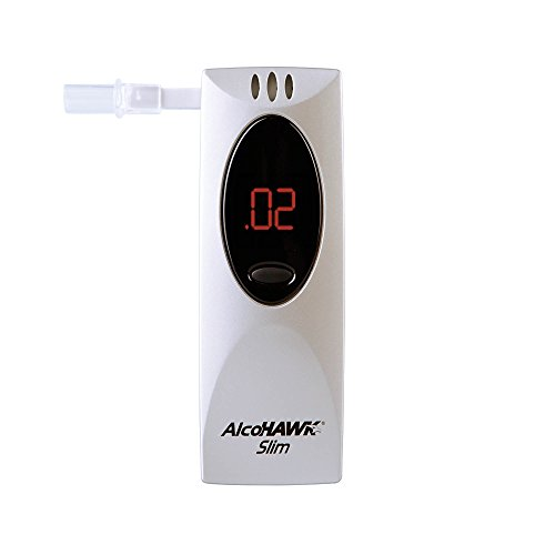 AlcoHAWK Slim Breathalyzer, Semi-Conductor Sensor Breath Alcohol Tester, Portable Personal use Alcohol Detector, Highly Accurate and Fast Results, BAC Tracker Digital LED screen includes 3 Mouthpieces