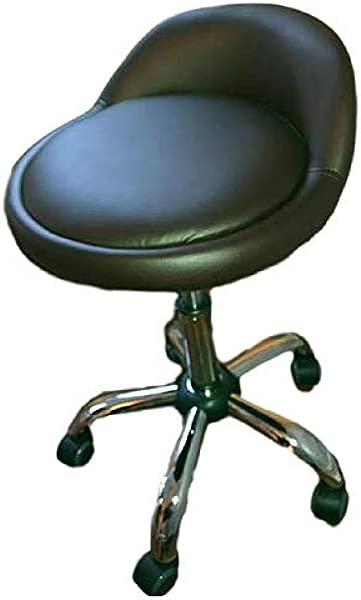Adjustable Rolling Stool Short Beauty Chair Bar Desk Swivel Wheels Office Modern Back Rest Ergonomic Portable Ebook