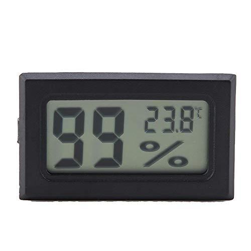 Igrometro termometro wireless Mini digitale elettronico temperatura umidità metri, in qualsiasi momento per monitorare l'ambiente di alimentazione, Taglia piccola, sonda integrata, nero