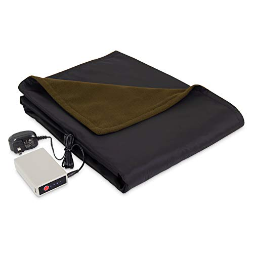 Eddie Bauer   Portable Heated Electric Throw Blanket-Rechargeable Lithium Battery with USB Port-Water Resistant Weather Smart Fleece for Travel, Camping, and Outdoor Use, Green/Black