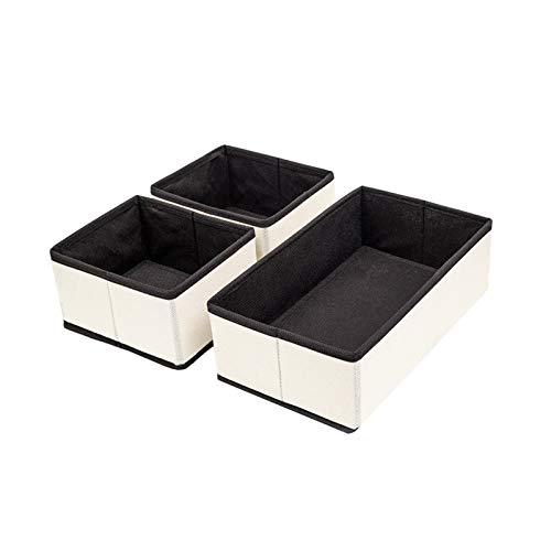 KLFD Set of 3 Multifunction Foldable Square Non-Woven Fabric Storage Box Bins Storage Baskets Household Closet Bedroom Drawers Space-Saving Container Organizers for Socks, Underwear, Ties