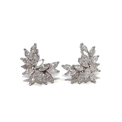 Never Say Never - Orecchini in oro bianco 18 k con 30 diamanti taglio navette che aggiungono 3.00 ct e con chiusura a pressione per la massima sicurezza