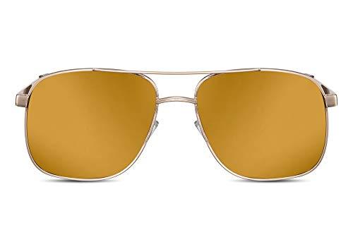 Cheapass Sonnenbrille Herren Gold-en Verspiegelt UV-400 Piloten-Brille Metall-Rahmen Männer