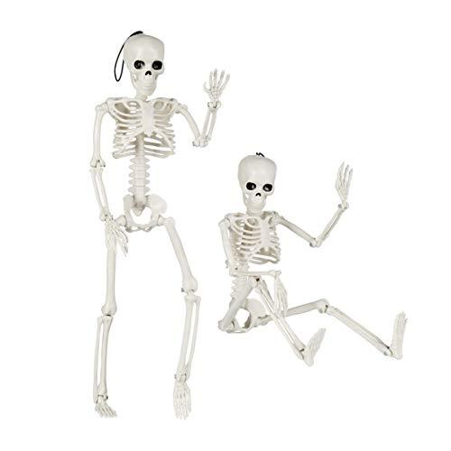YARNOW 2 Stück Bewegliches Halloween Skelett 40cm Ganzkörper Halloween Skelett mit Beweglichen Gelenken für Zuhause Spukhaus Halloween Party Garten Dekorationen