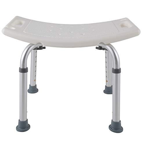 LARS360 Medical Duschhocker Duschstuhl Duschhilfe Duschsitz Badsitz Duschhocker aus Aluminium & HDPE Höhenverstellbar mit Anti-Rutsch bis 120KG Belastung (Rechteck Duschhocker)