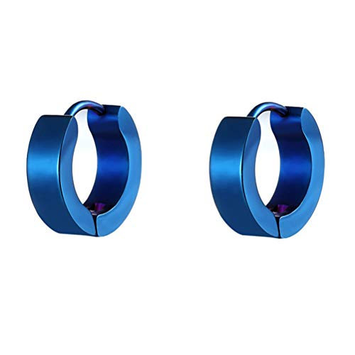 HIJONES Aretes Pequeños Tipo Argolla para Hombre Mujer de Acero Inoxidable Pendientes Color Azul