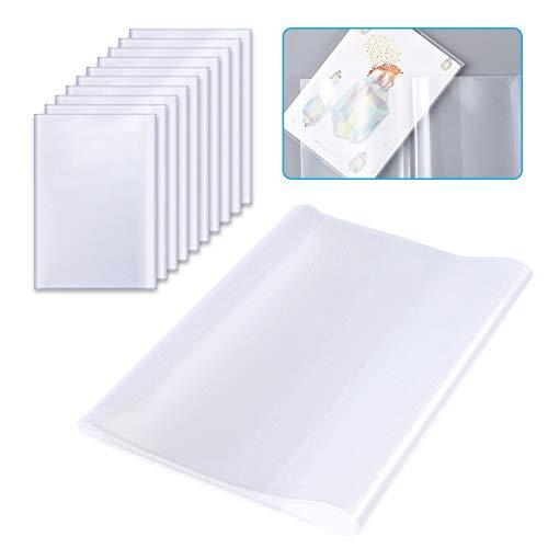 XGzhsa A5 Transparenter Buchumschlag, Buchumschläge schulbücher, Verdickte wiederverwendbare und verstellbare durchsichtige Buchumschläge aus Kunststoff für das Home Office der Schule (10 Stück)