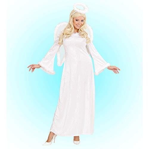 WIDMANN 44173Disfraz de Adultos, Ángel del Cielo de Terciopelo, Vestido con Plumas, alas, Aureola