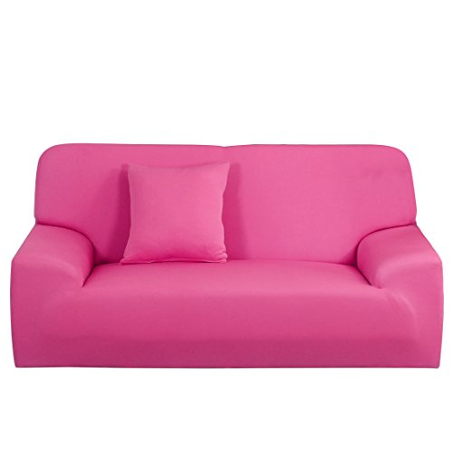 uxcell Stretch Sofa Cover Chair Loveseat Couch Slipcover, Machine Washable, Stylish Furniture Protector with One Cushion Case Fuchsia Sofa-3seater