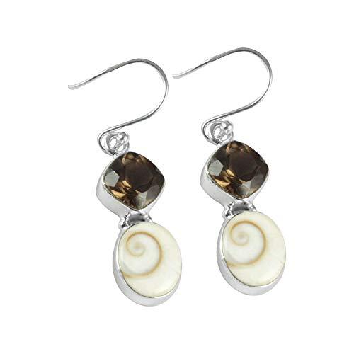 Silver Palace Natural Shiva Eye Gemstone 925 Sterling Silver Drop Dangle Handmade Earrings For Women & Girls