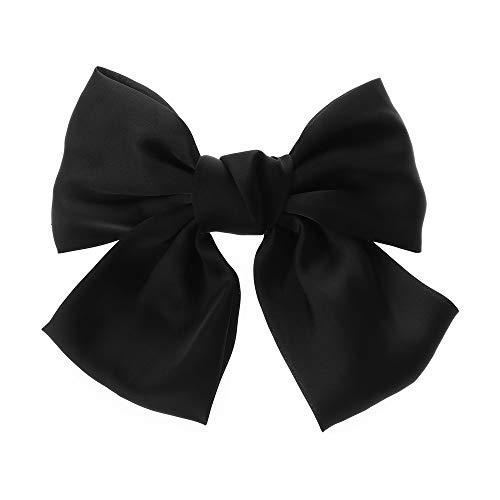 Regali di Natale in raso di seta da donna con fiocco grande fermaglio per capelli fermagli per capelli per ragazze forcine (nero)