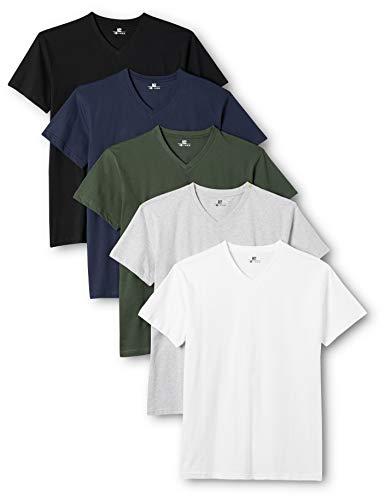 Lower East Herren T- Shirt mit V-Ausschnitt aus 100 % Baumwolle, 5er Pack, Mehrfarbig (Weiß/Schwarz/Grau/Blau/Grün), 3XL