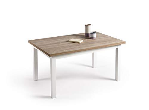 HOGAR24- Mesa Multiusos Comedor Cocina Dimensiones 120 cm x 80 cm Extensible Libro a 190 cm x 80 cm Color Roble Cambrian y Blanco
