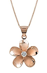 """14k Rose Gold Plated Sterling Silver Plumeria CZ Necklace Pendant with 18"""" Box Chain"""