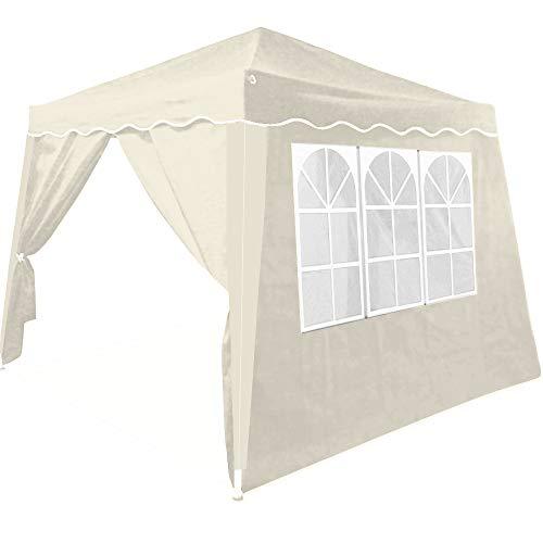 Deuba Pavillon Partyzelt Capri | 3x3m wasserdicht | Beige Faltpavillon 4 Seitenwände | Festzelt Gartenzelt Zelt