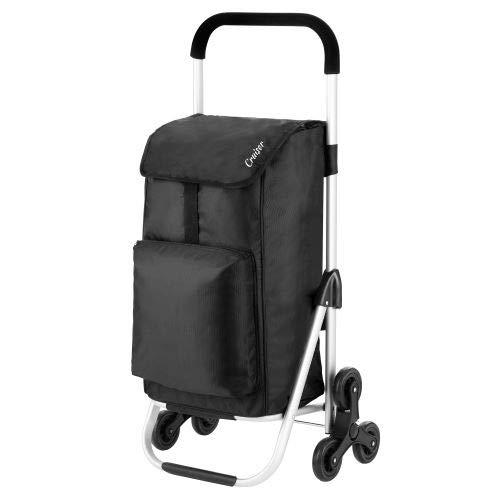 Chariot de courses pour escalier - 2 couleurs - 30 l, Tissu, Noir , 97 x 33 x 47cm
