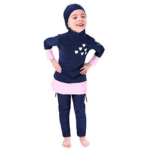 IBTOM CASTLE Muslimischen Badeanzug Kinder Baby Mädchen Full Cover Bescheiden Islamische Tops mit Badehose UV-Schutz Schwimmanzug Bademode Set Burkini Schwimmbe Hijab Surfen Kleidung Blau 7-8 Jahre