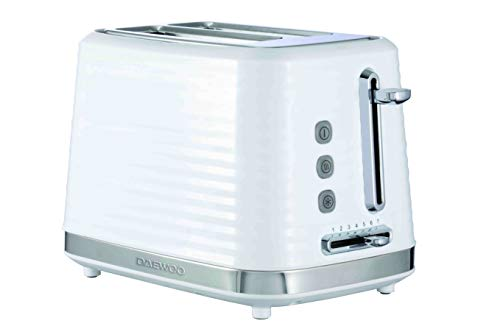 Daewoo Hive 2 Slice Toaster with Variable Browning Control and Reheat/Defrost Functions, Automatic Switch Off and Anti-Jam Mechanism, Slide out Crumb Tray and LED Light Indicator- White