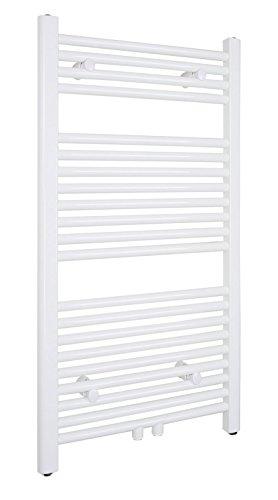 SixBros. R18 Badheizkörper (1000 x 500 mm, 463 Watt) - Heizkörper mit Handtuchhalter für das Bad - pulverbeschichtet – weiß