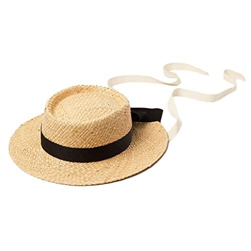 Sombrero de sol para bebé, para niños, niñas, paja, bonito lazo para decoración de flores, para senderismo, color beige
