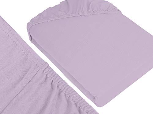 npluseins klassisches Jersey Spannbetttuch – erhältlich in 34 modernen Farben und 6 verschiedenen Größen – 100% Baumwolle, 70 x 140 cm, flieder - 3