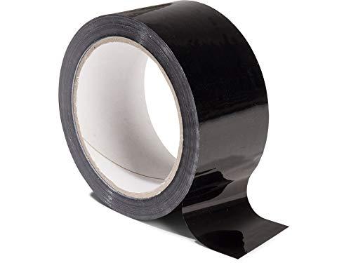 Modulor Verpackungsband, farbiges Klebeband aus Polypropylen, leise abrollendes Paketband mit Acrylatkleber, Breite 5 cm x Länge 66 m, 48 µm dick, schwarz